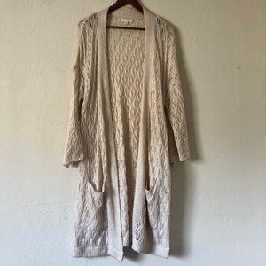Lauren Conrad Tan Crochet Knit Duster Cardigan XL